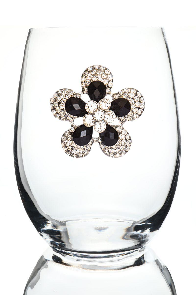 Black Diamond Flower Jeweled Stemless Wine Glass
