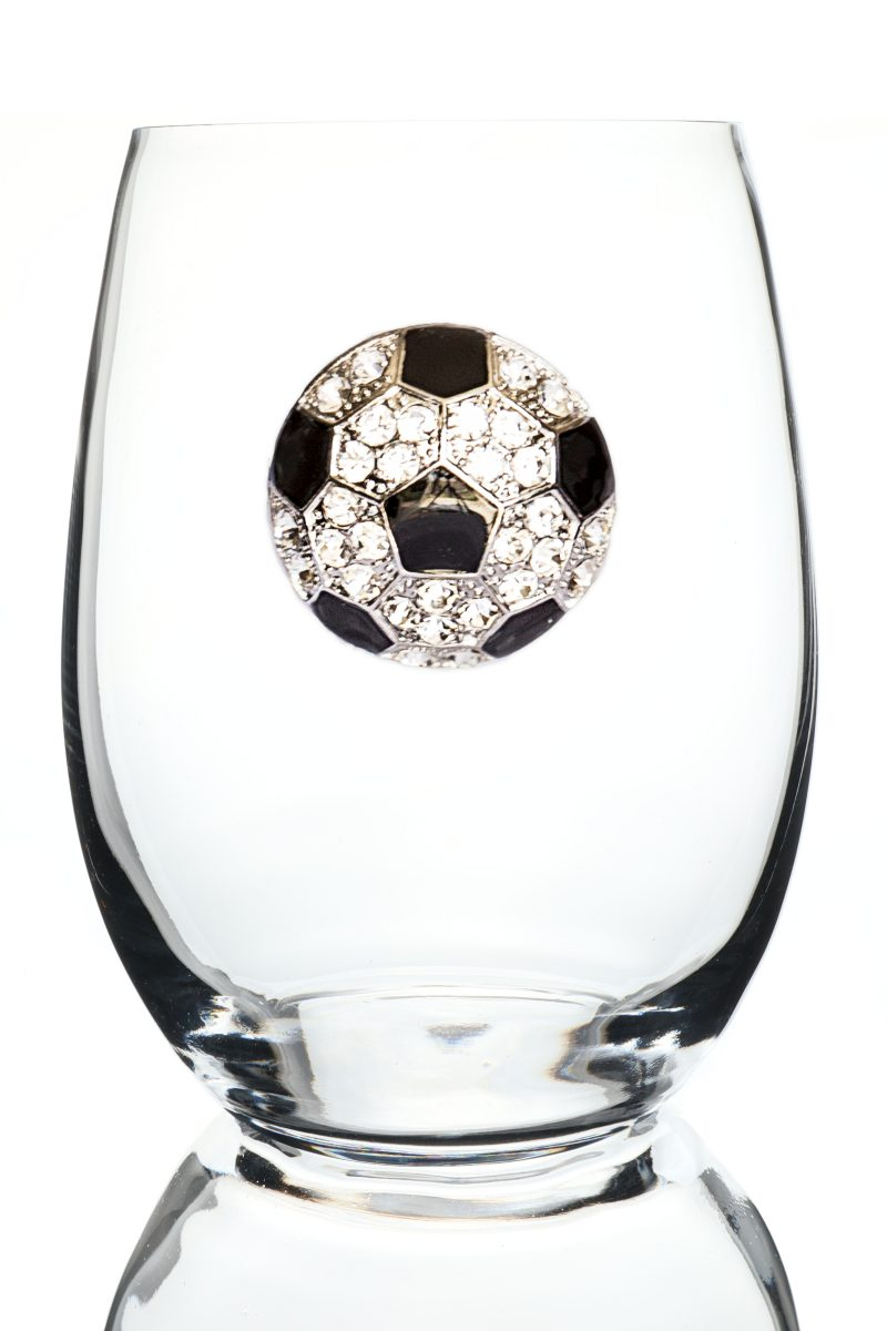 Soccer Ball Jeweled Stemless Wine Glass