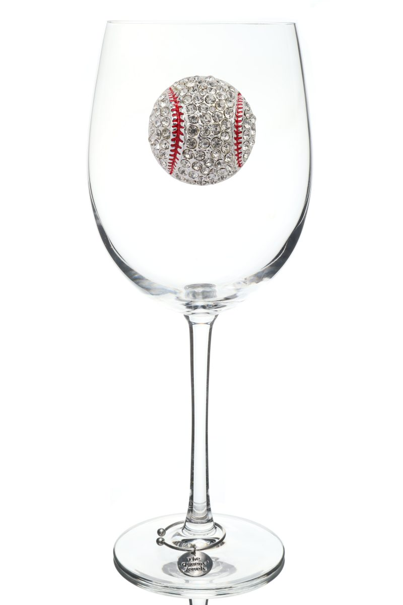 Baseball Jeweled Stemmed Wine Glass