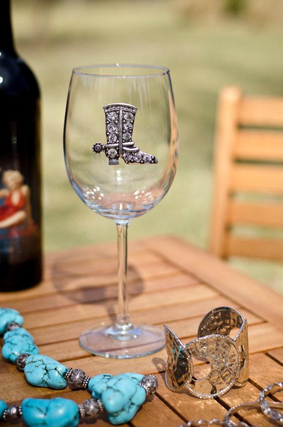 Cowboy Boot Jeweled Wine Glass Stemmed