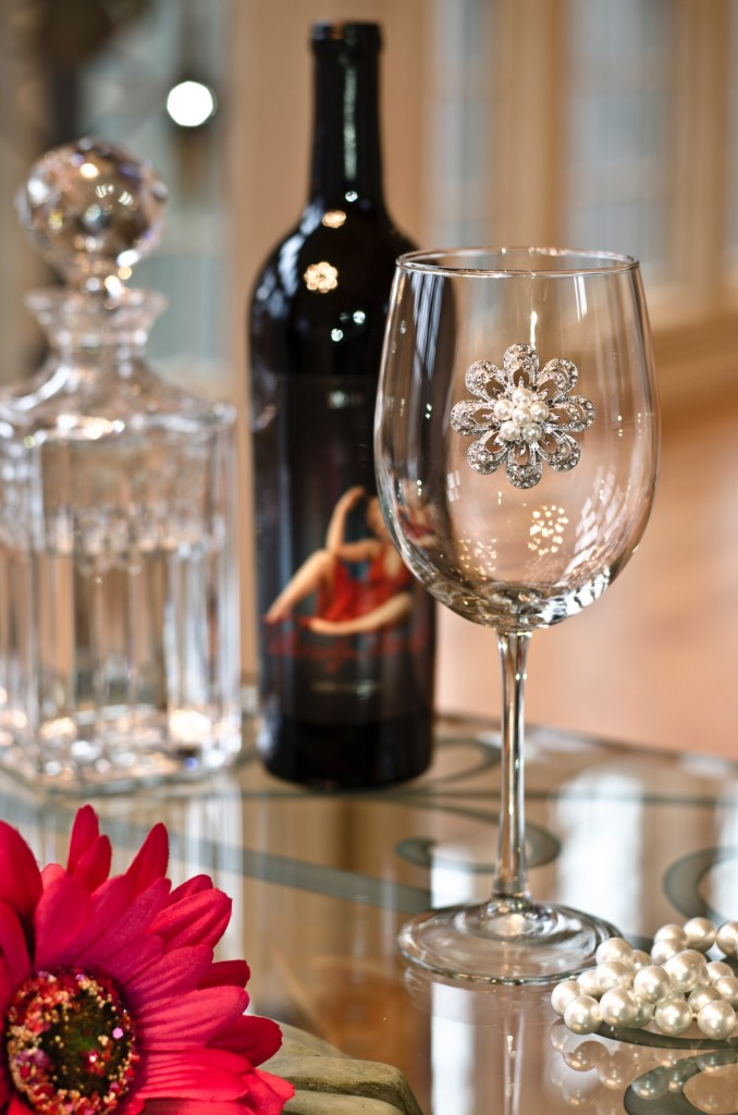 Flower Pearl Jeweled Wine Glass Stemmed