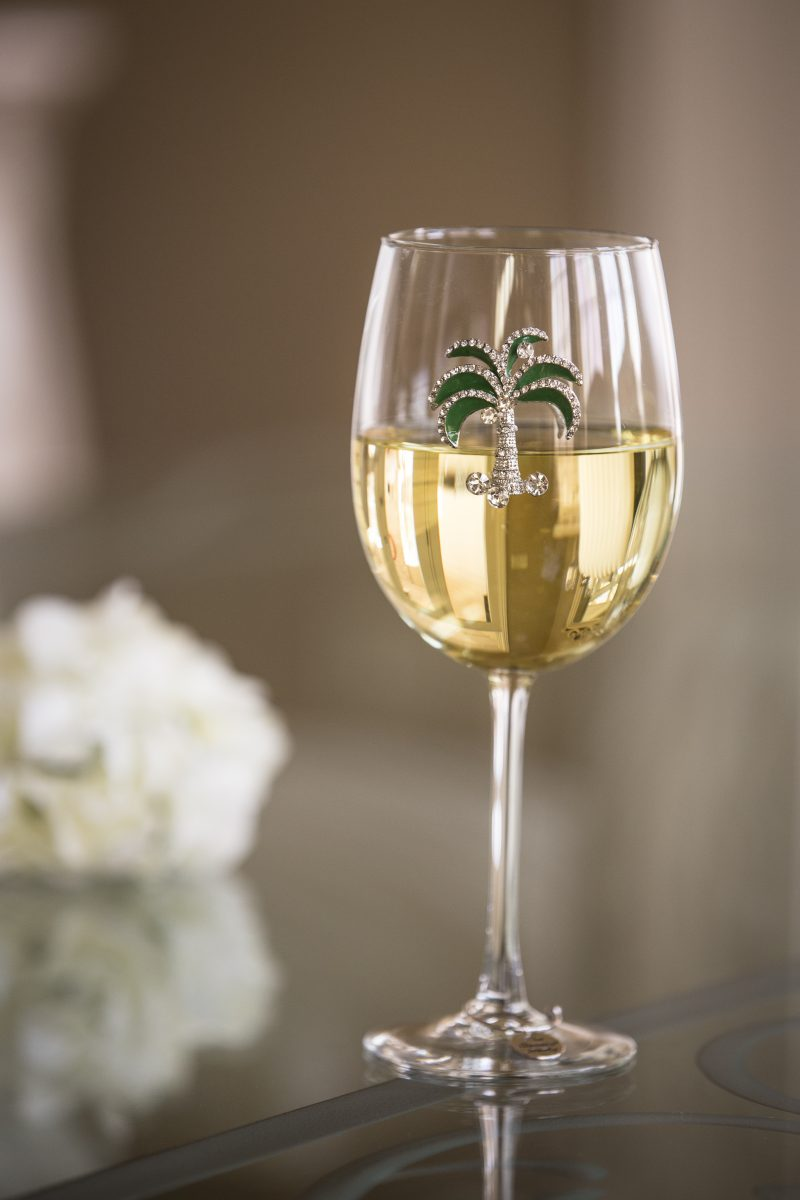 Green Diamond Palm Tree Jeweled Wine Glass Stemmed
