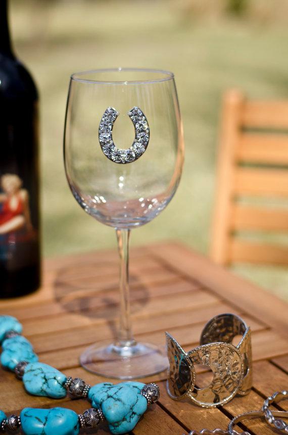 Horseshoe Jeweled Wine Glass Stemmed