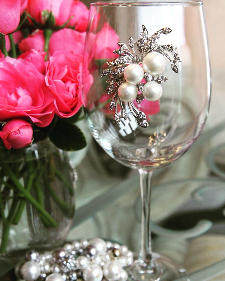 Pearl Bouquet Jeweled Wine Glass Stemmed