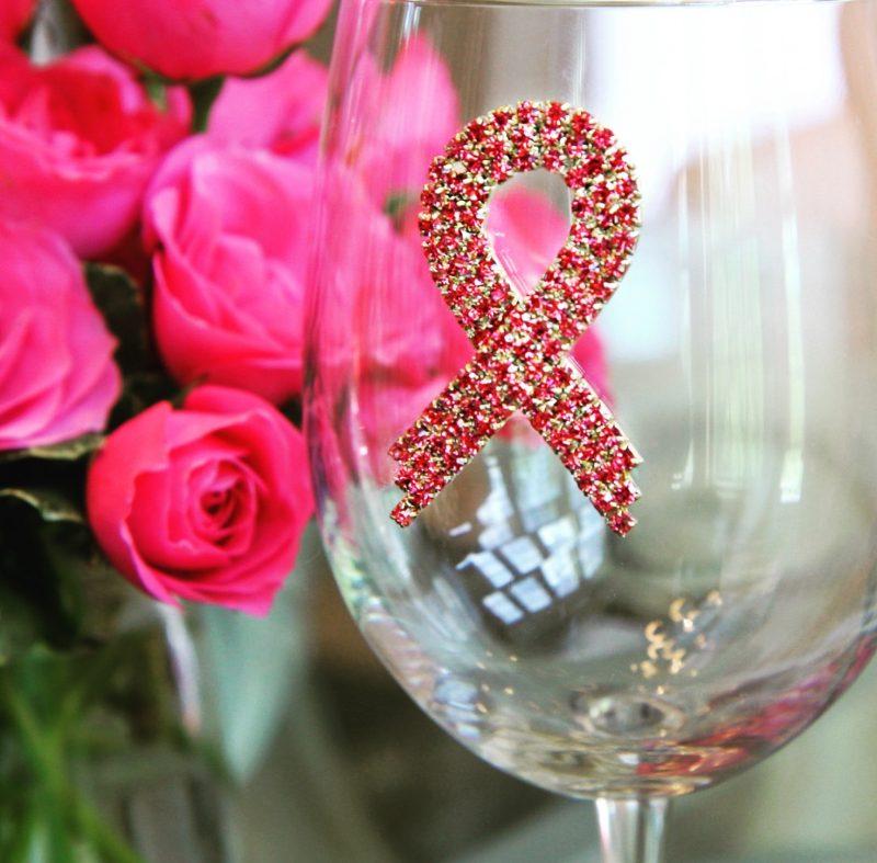 Pink Ribbon Jeweled Wine Glass