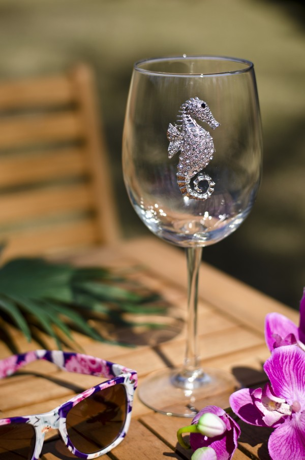 Seahorse Jeweled Wine Glass Stemmed