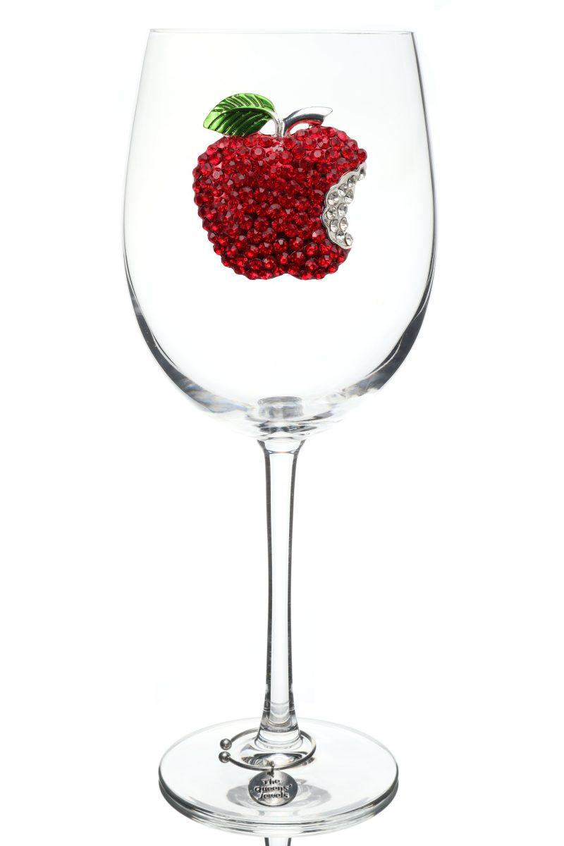 Apple Jeweled Stemmed Wine Glass
