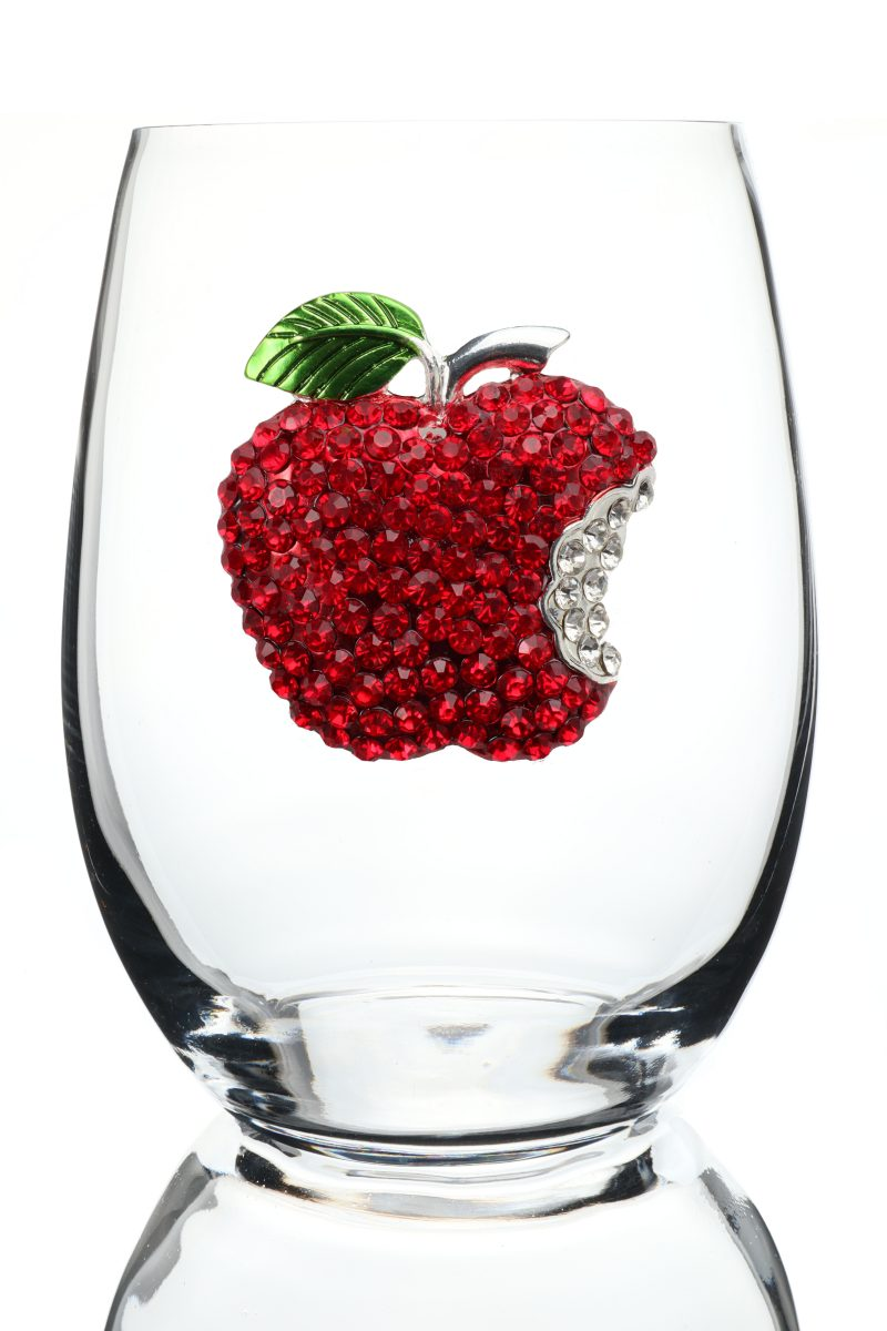 Apple Jeweled Stemless Wine Glass