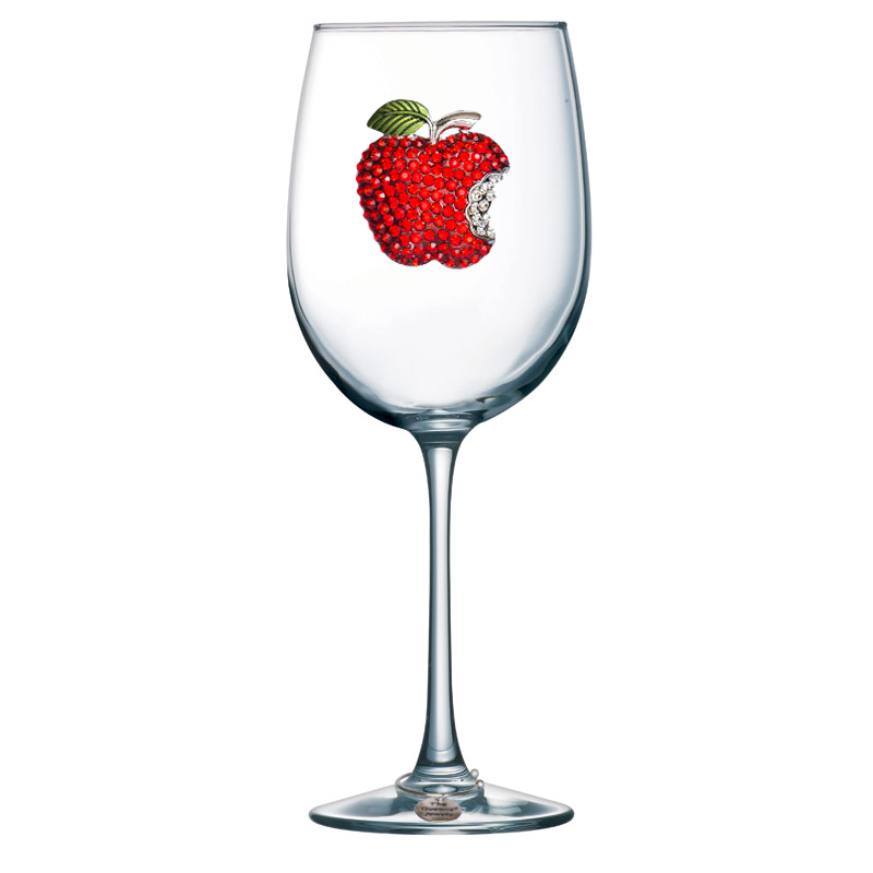 Apple Jeweled Stemmed Wine Glass
