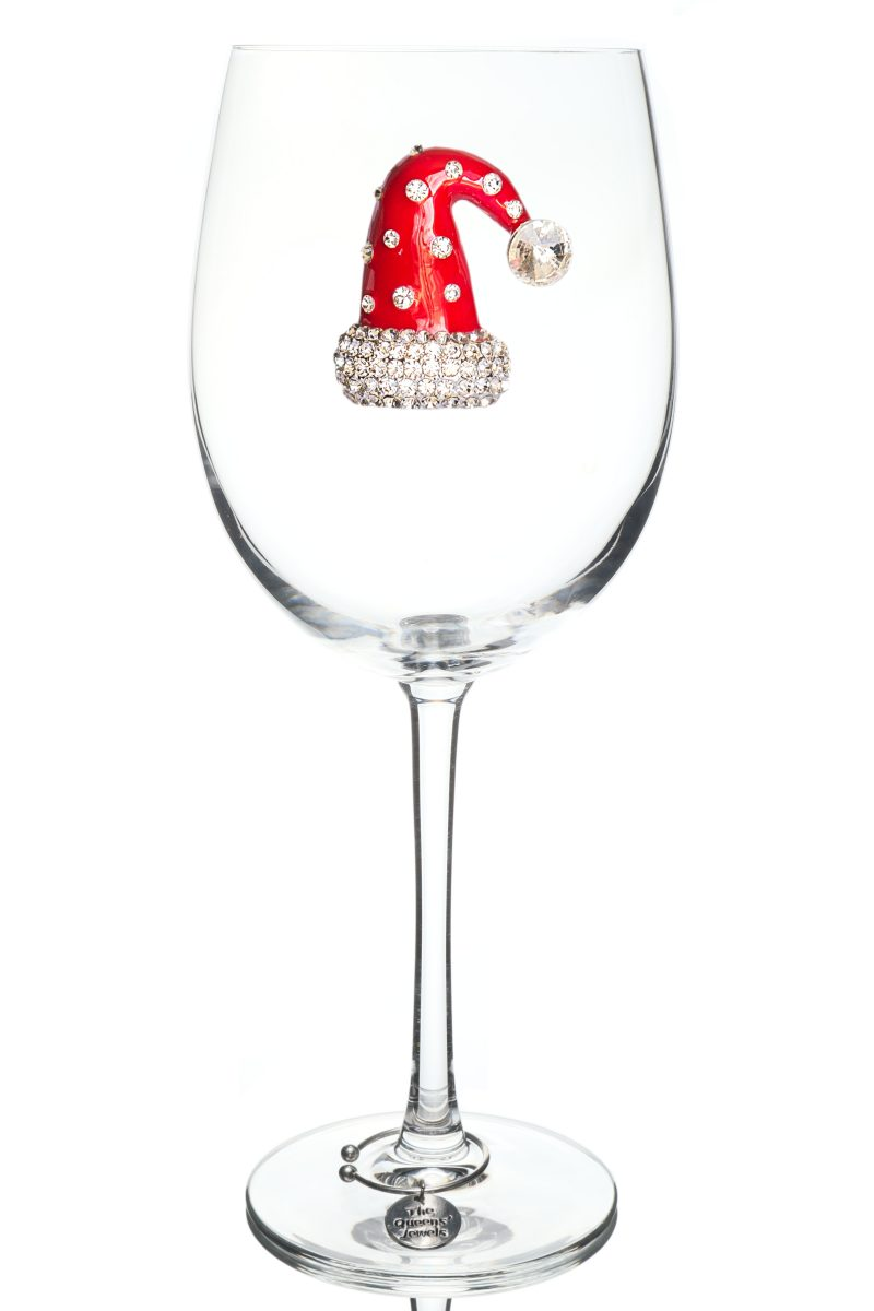 Christmas Hat Jeweled Stemmed Wine Glass