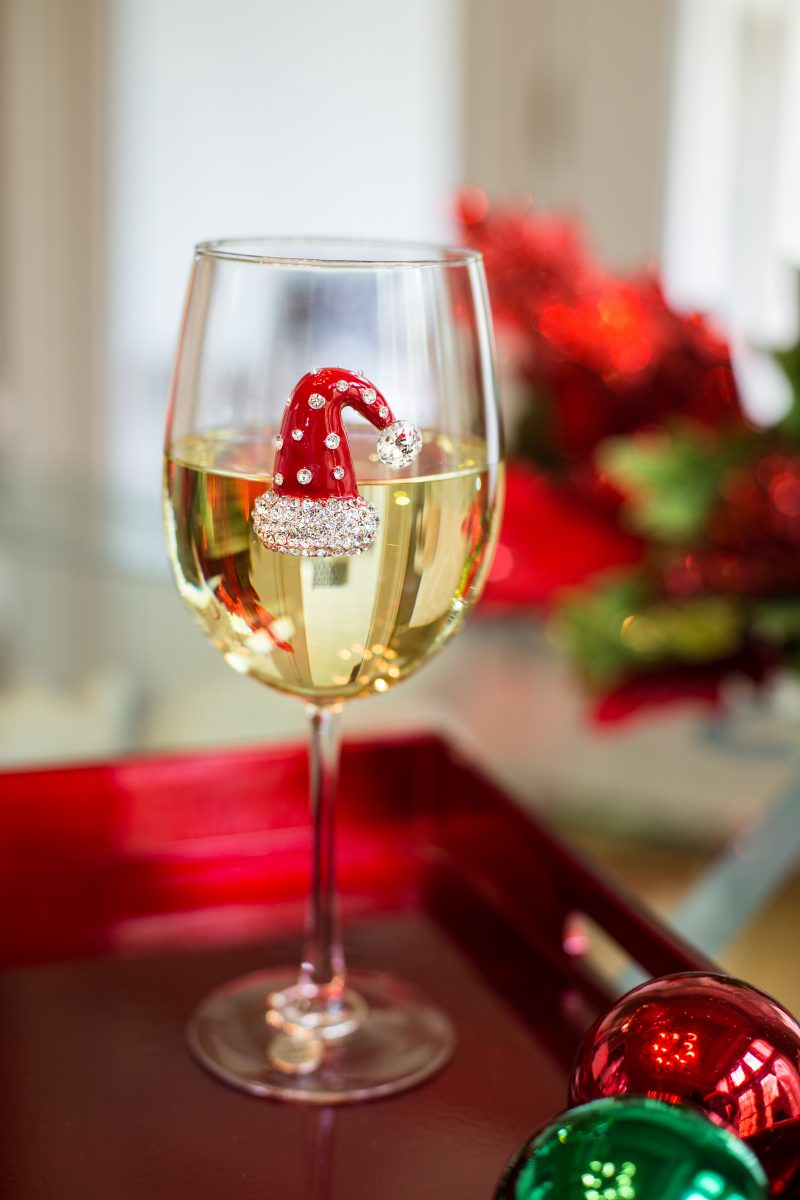 Christmas Hat Jeweled Wine Glass