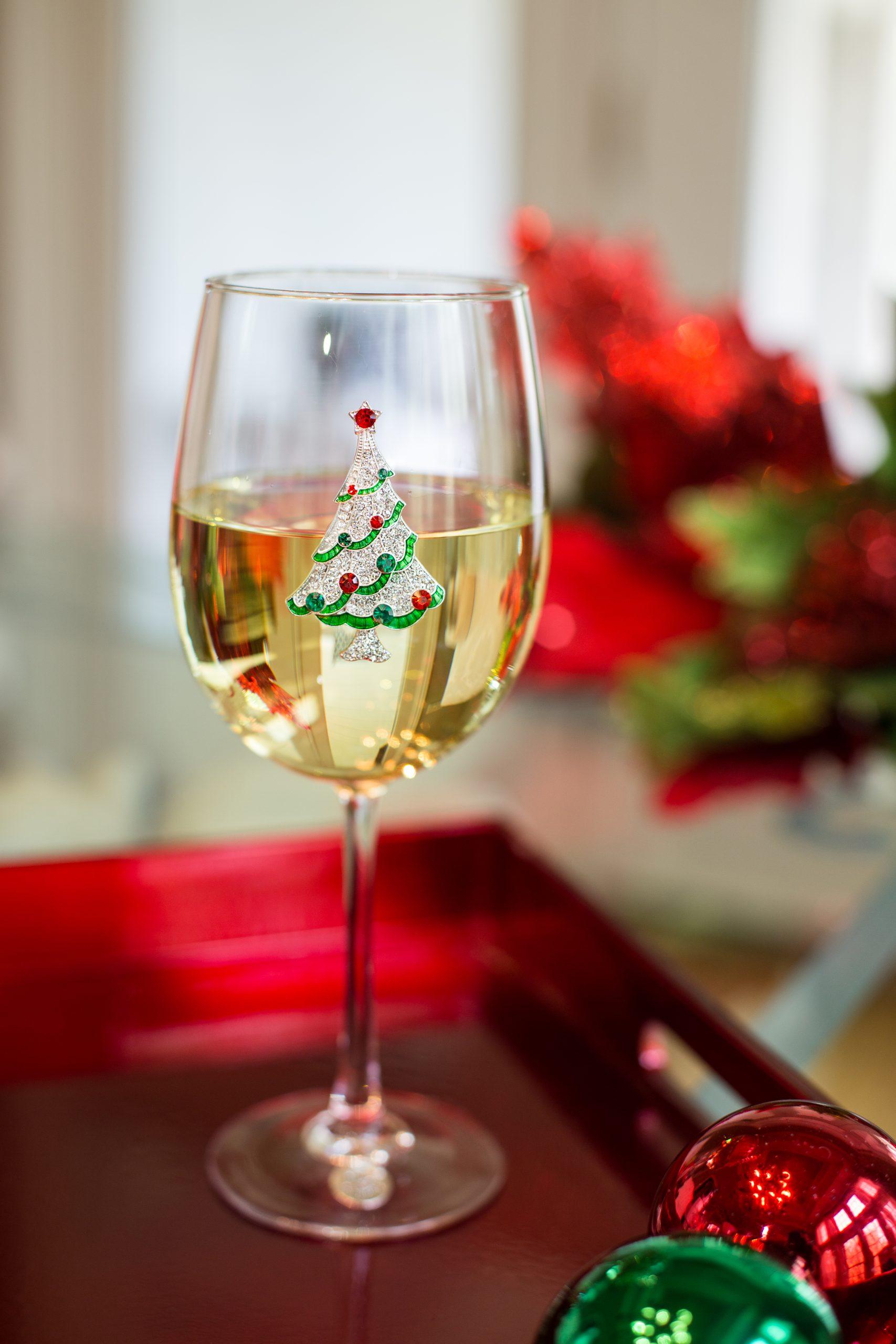 Christmas Tree Jeweled Wine Glass Stemmed