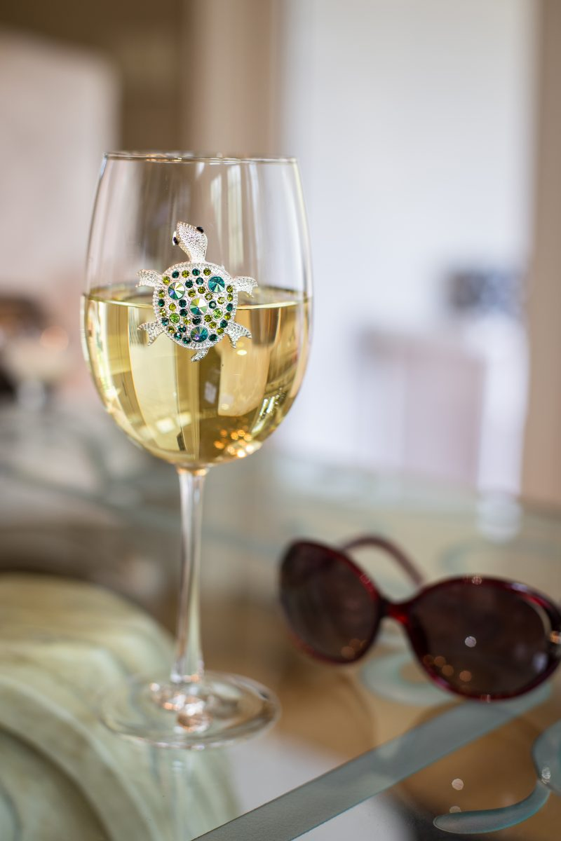 Sea Turtle Jeweled Wine Glass Stemmed