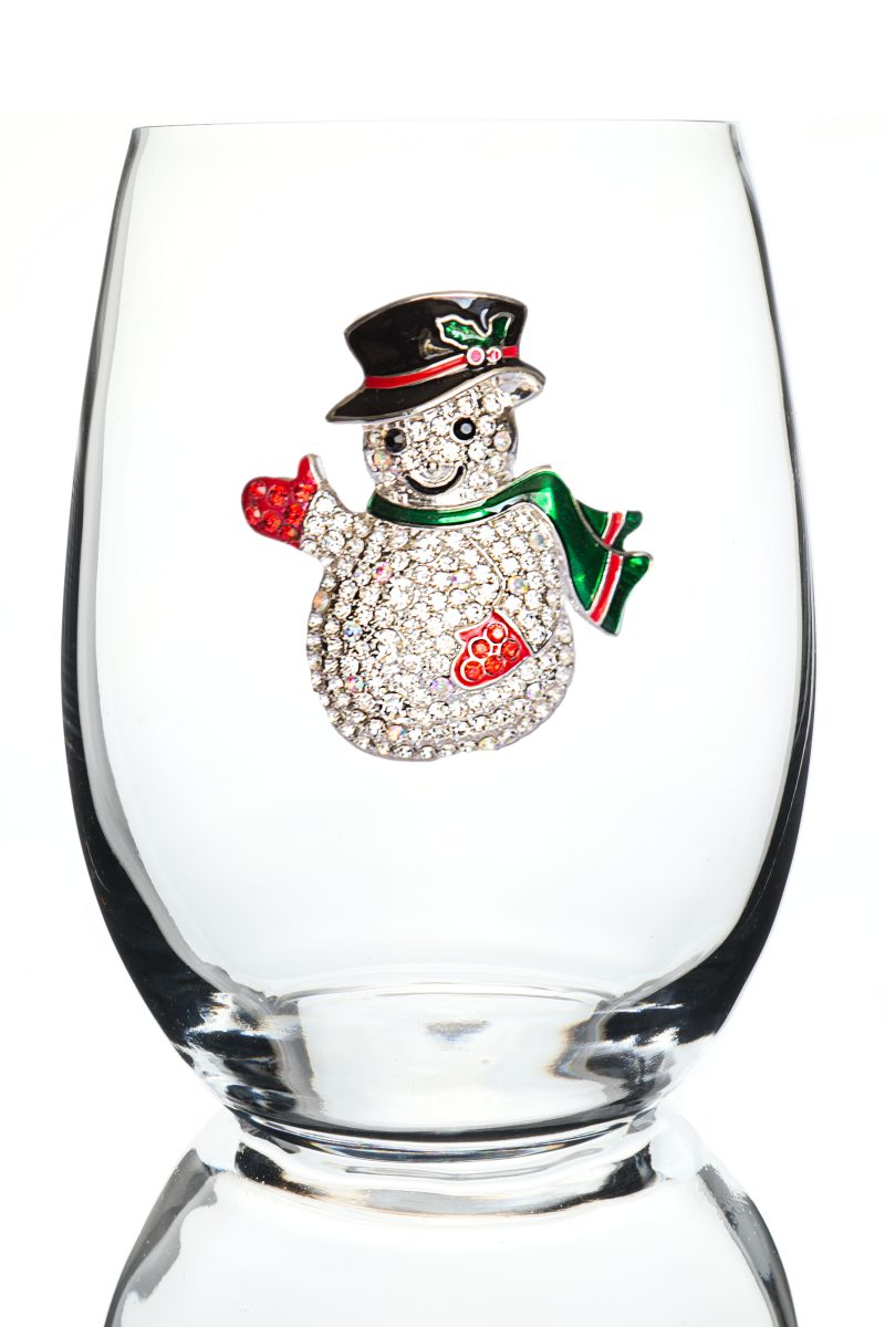 Snowman Jeweled Stemless Wine Glass