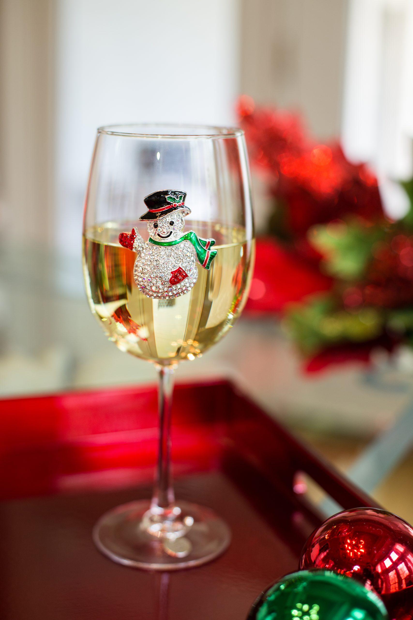 Snowman Jeweled Wine Glass Stemmed