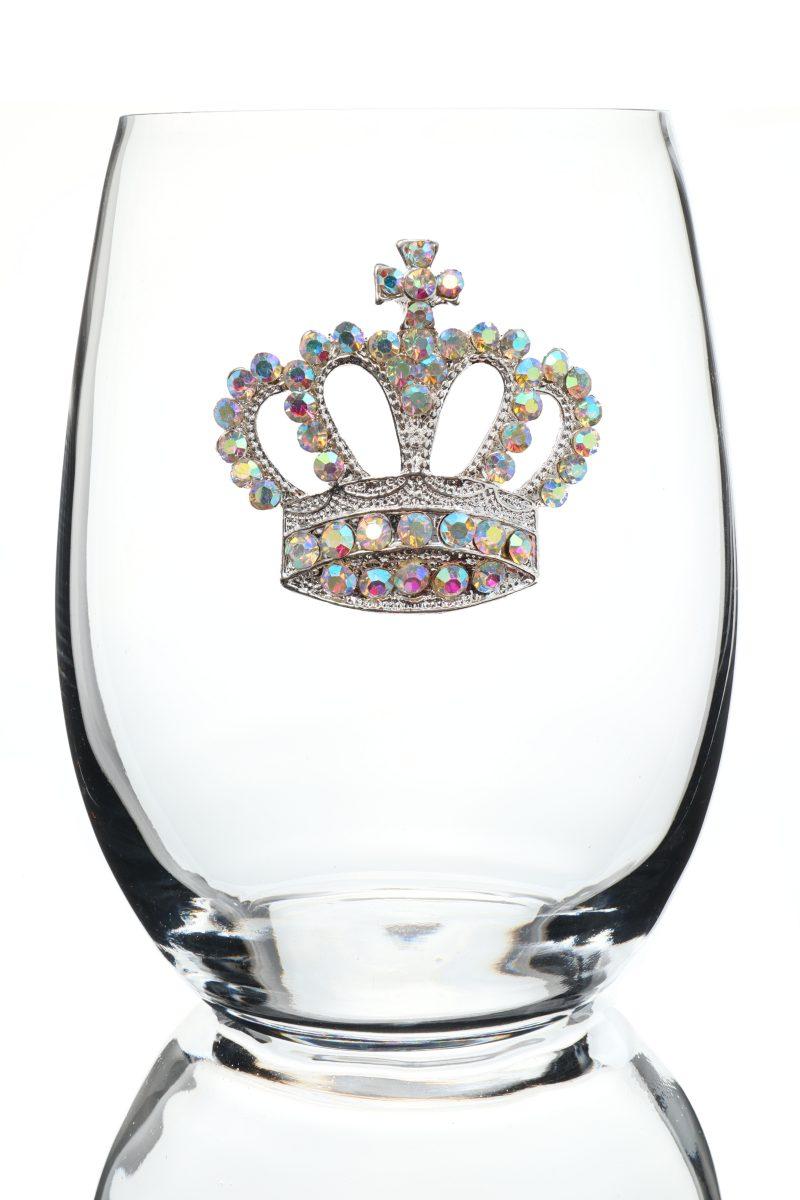 Aurora Borealis Jeweled Stemless Wine Glass