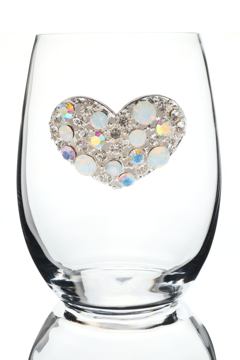 Multi Stone Heart Jeweled Stemless Wine Glass