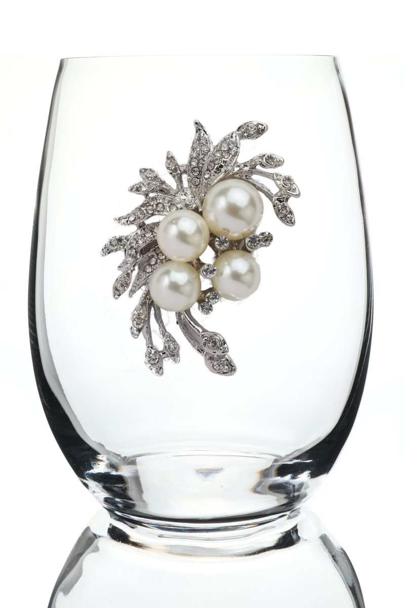 Pearl Bouquet Jeweled Stemless Wine Glass