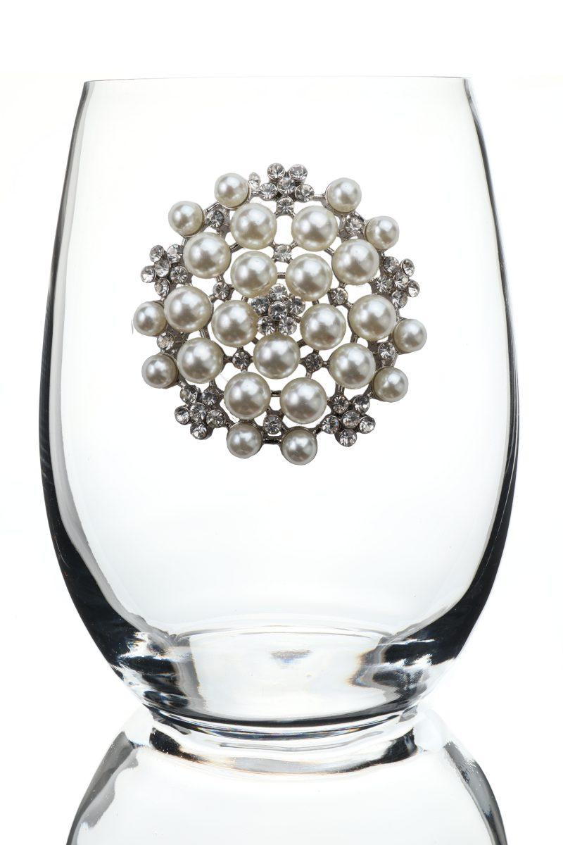 Round Diamond and Pearl Jeweled Stemless Wine Glass