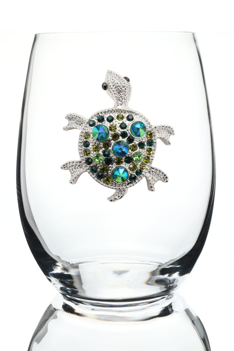 Turtle Jeweled Stemless Wine Glass