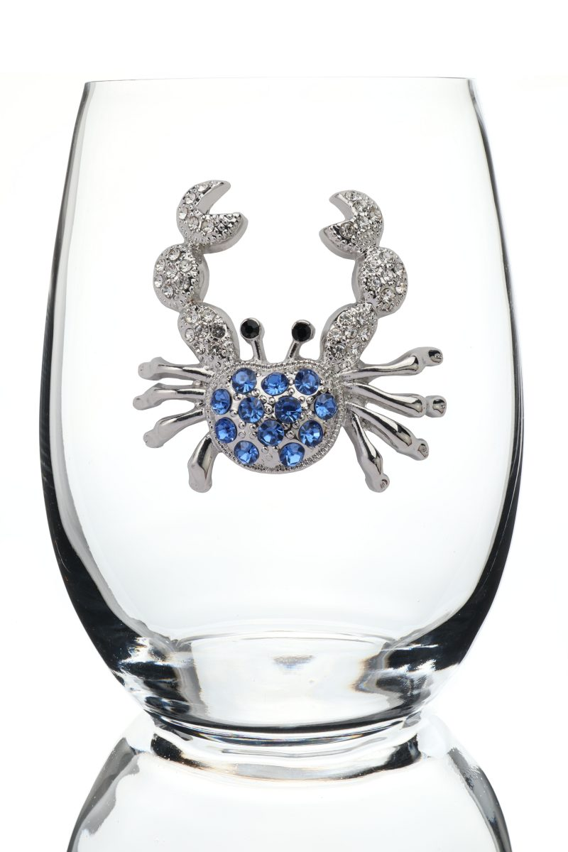 Blue Crab Jeweled Stemless Wine Glass