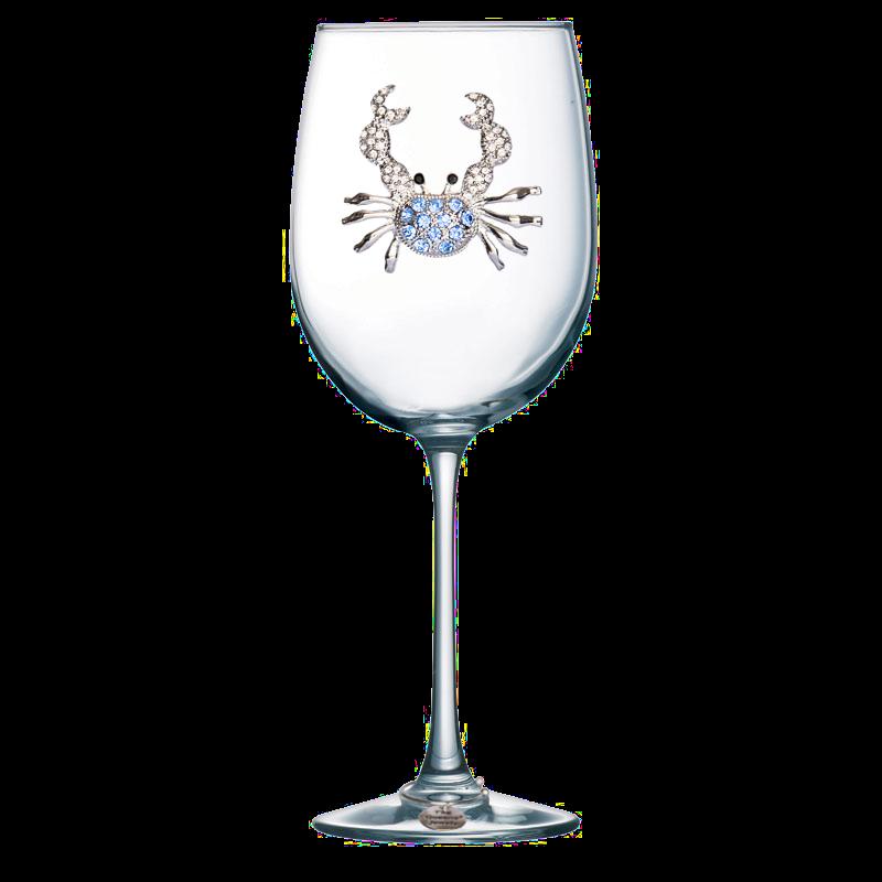 Blue Crab Jeweled Stemmed Wine Glass