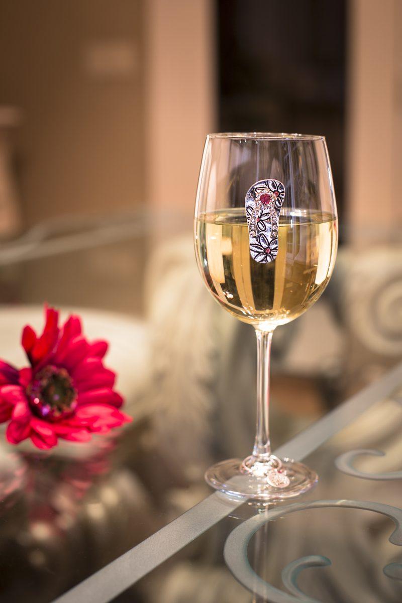 Flip Flop Jeweled Wine Glass Stemmed