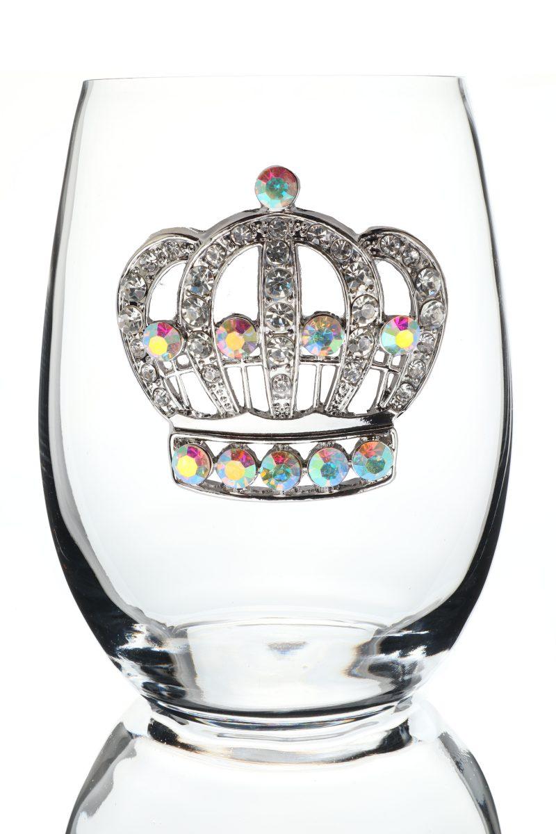Large Crown Jeweled Stemless Wine Glass