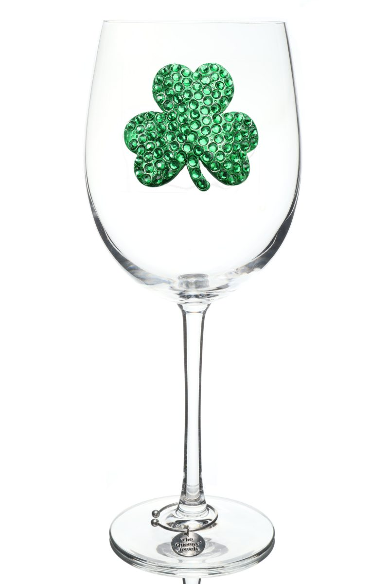 Shamrock Jeweled Stemmed Wine Glass