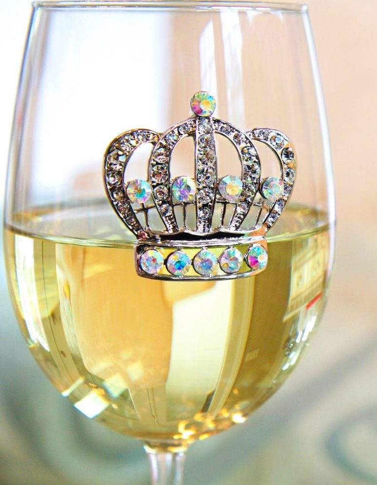 Large Crown Jeweled Wine Glass Stemmed