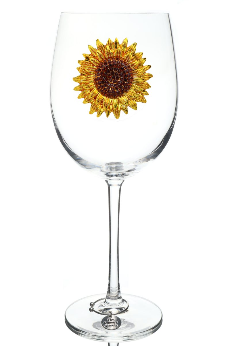 Sunflower Jeweled Stemmed Wine Glass