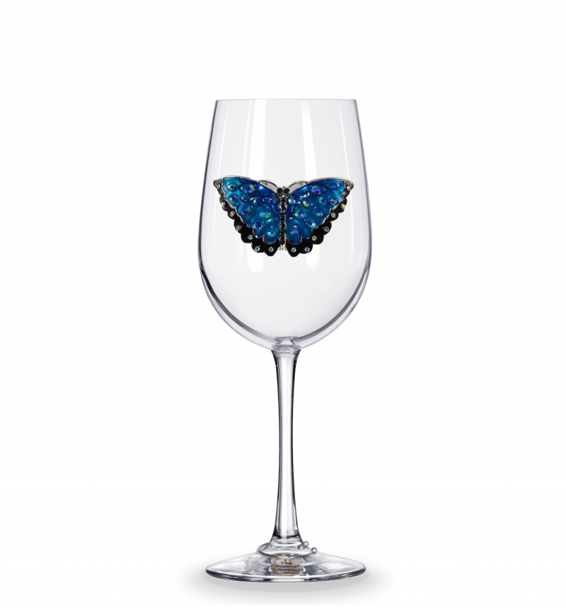 Butterfly Stemless Jeweled Wine Glass