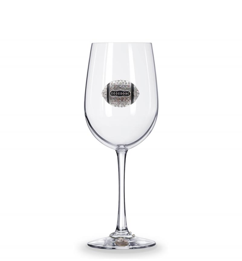 Football Stemmed Jeweled Wine Glass