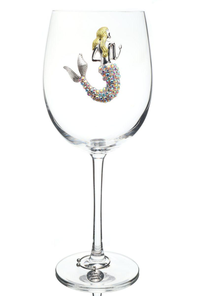 AB Mermaid Jeweled Stemmed Wine Glass