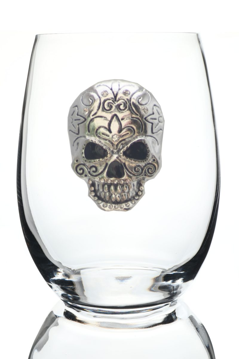 Skull Jeweled Stemless Wine Glass