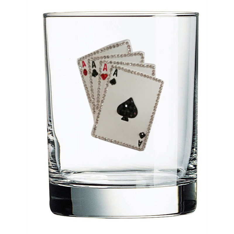 Playing Cards Jeweled Double Old Fashioned