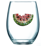 Watermelon Jeweled Stemless Wine Glass