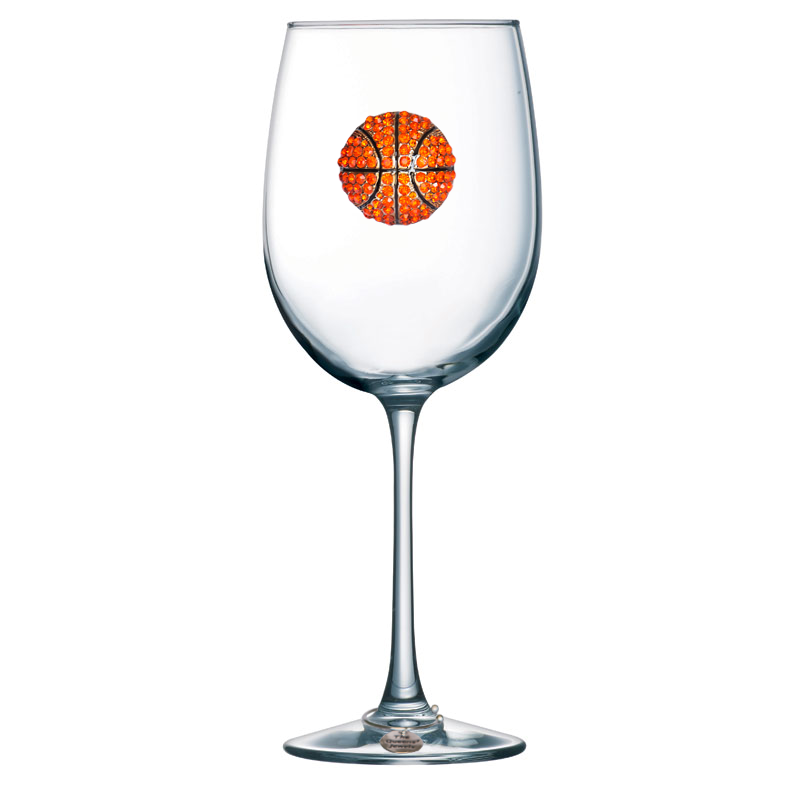 Basketball Jeweled Stemmed Wine Glass
