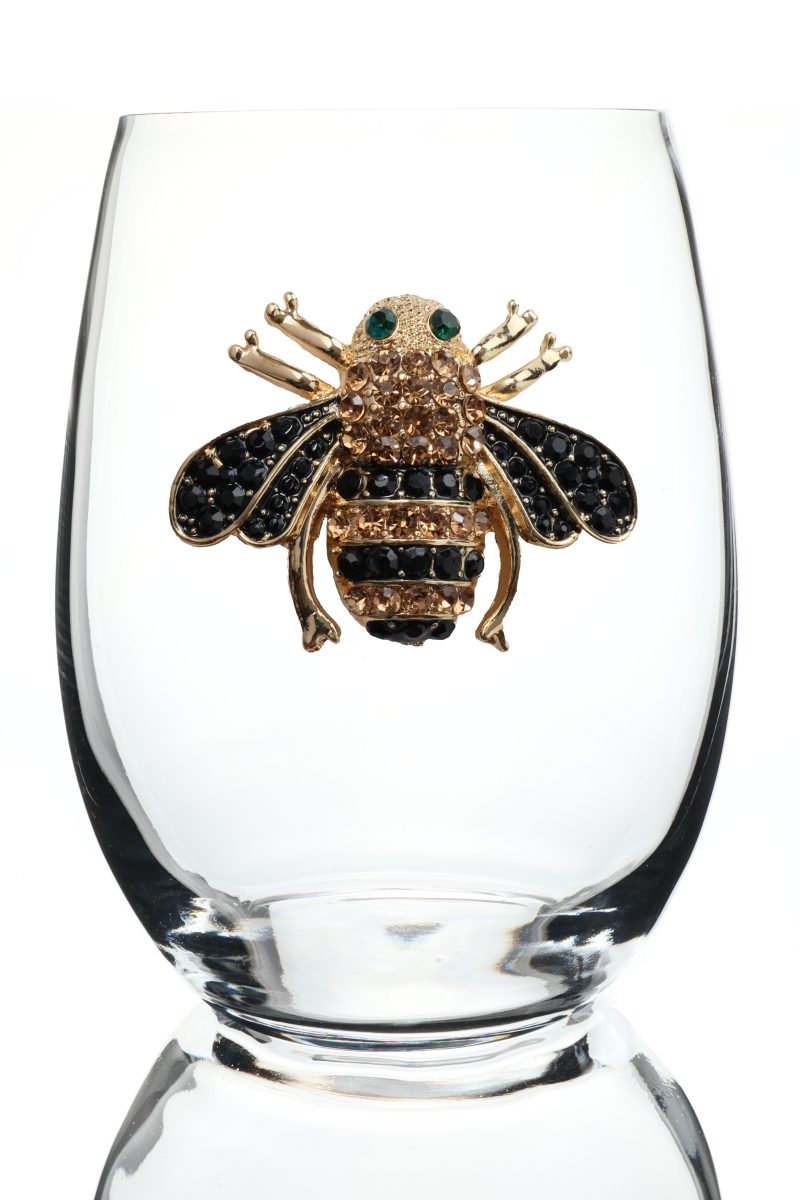 Bee Jeweled Stemless Wine Glass