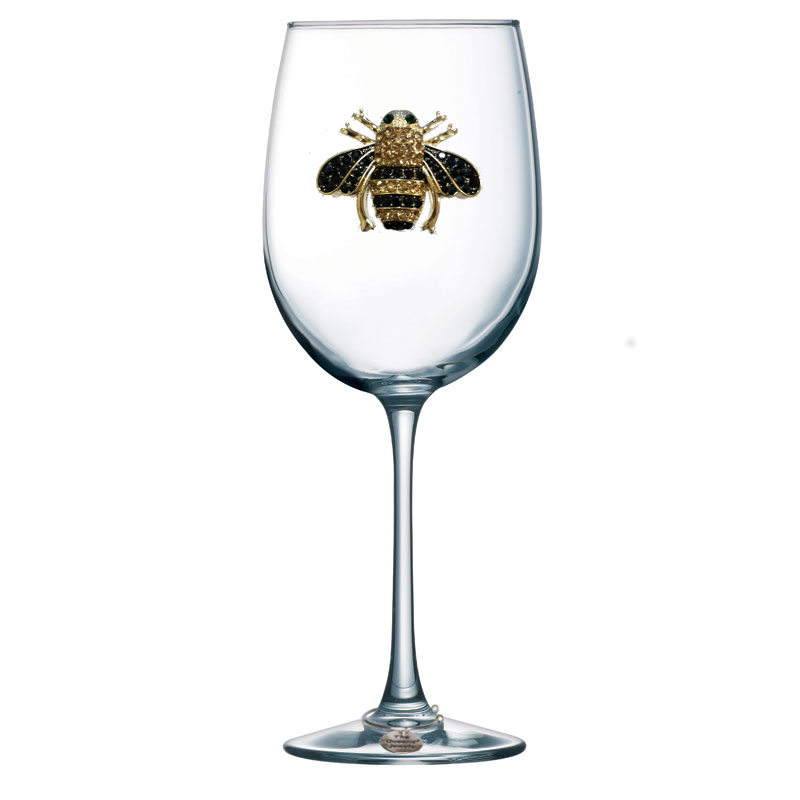 Bee Jeweled Stemmed Wine Glass