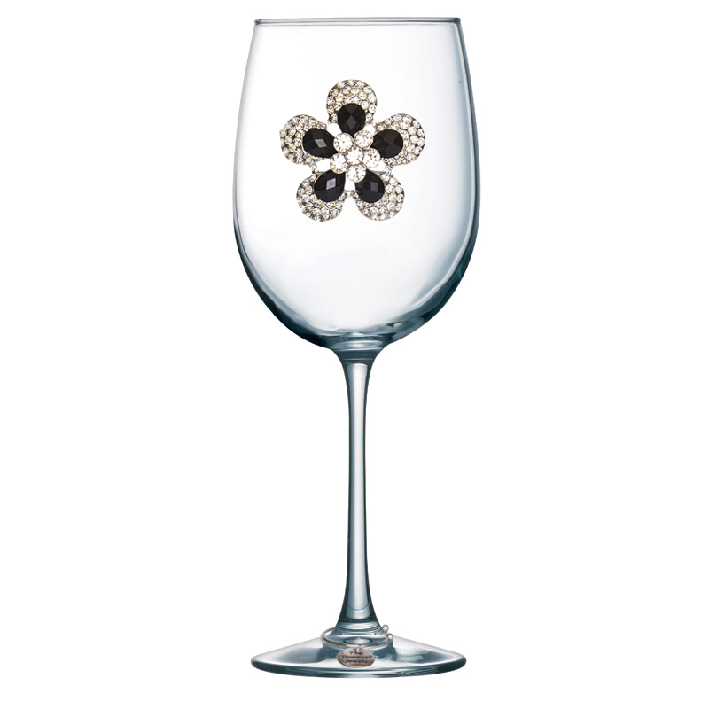 Black Diamond Flower Jeweled Stemmed Wine Glass
