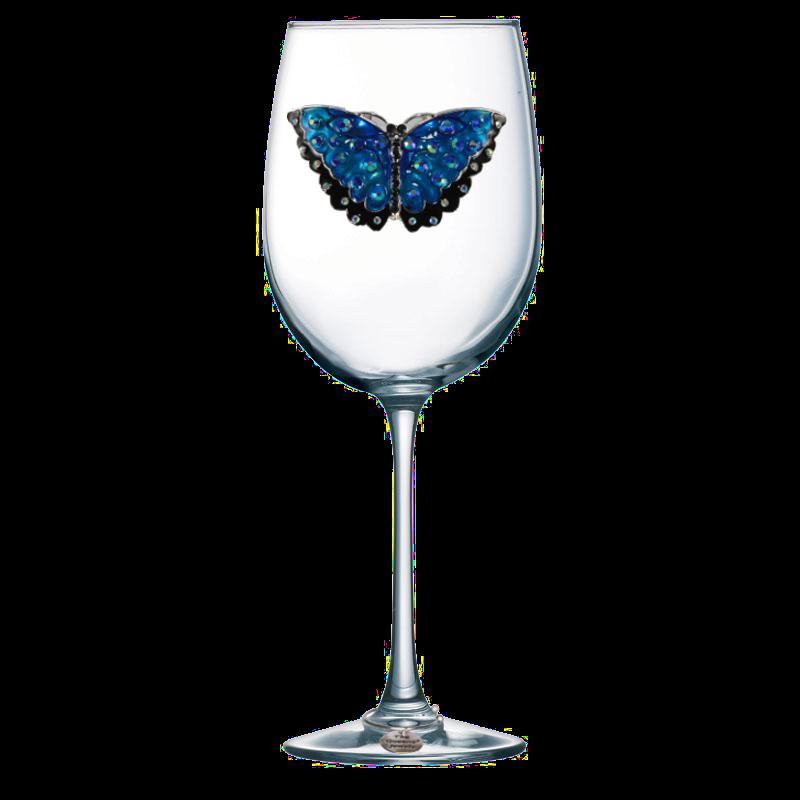 Butterfly Jeweled Stemmed Wine Glass