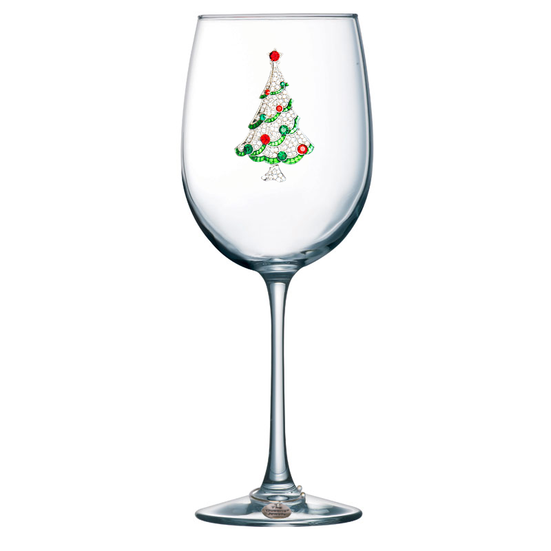 Christmas Tree Jeweled Stemmed Wine Glass