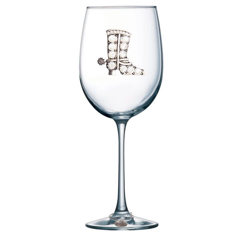Cowboy Boot Jeweled Stemmed Wine Glass