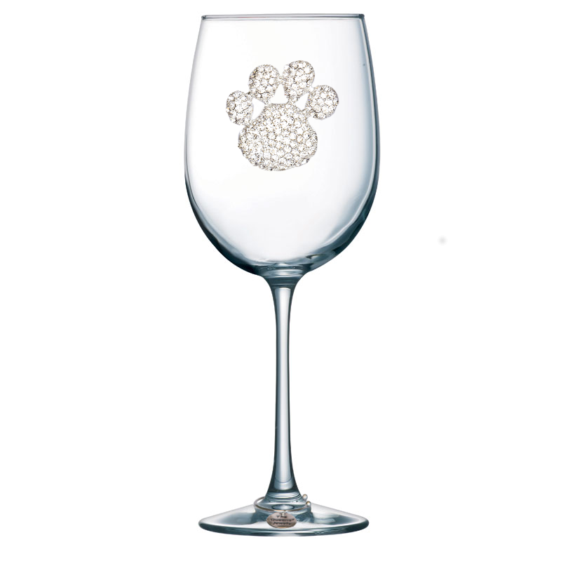 Diamond Paw Print Jeweled Stemmed Wine Glass