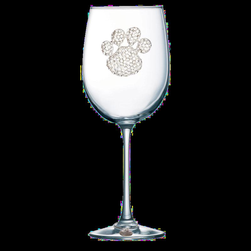 Diamond Paw Print Jeweled Stemmed Wine Glass
