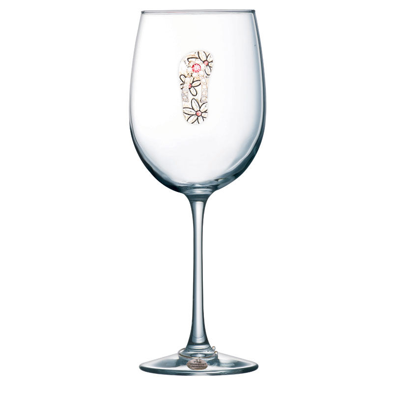Flip Flop Jeweled Stemmed Wine Glass