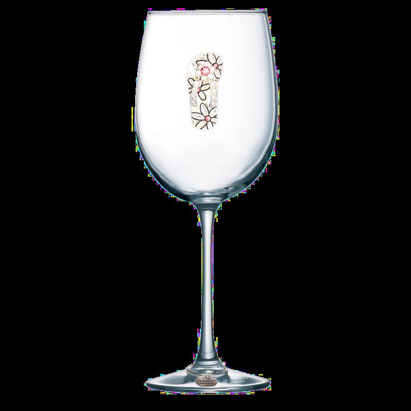 Flip Flop Jeweled Stemmed Wine Glass