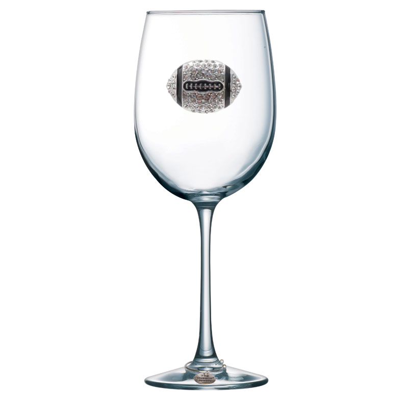 Football Jeweled Stemmed Wine Glass