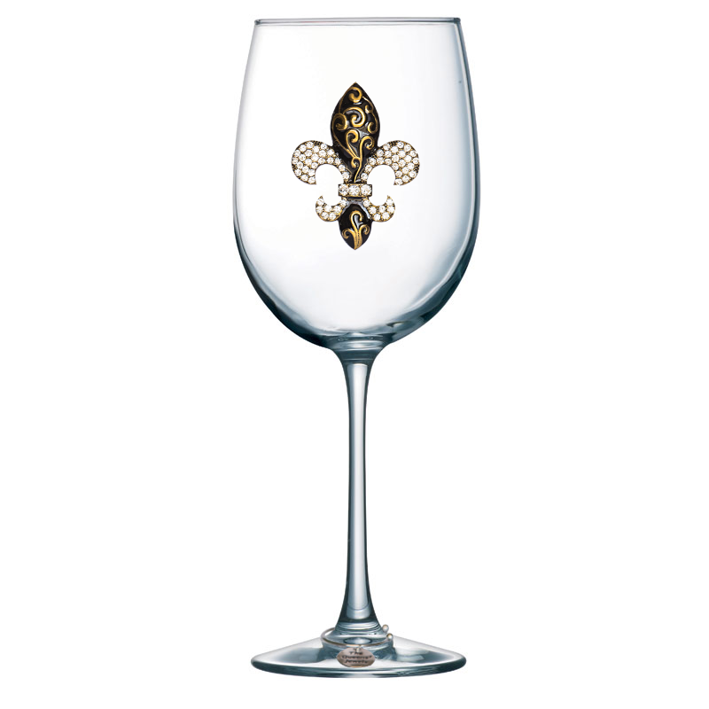 Gold Swirl Fleur de Lis Jeweled Stemmed Wine Glass